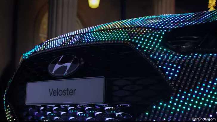 News Hyundais AllNew Veloster Teased In LED Light Show - Car light show